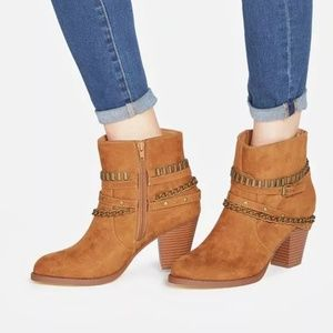 JustFab Kualeah Cognac Chain Booties 8
